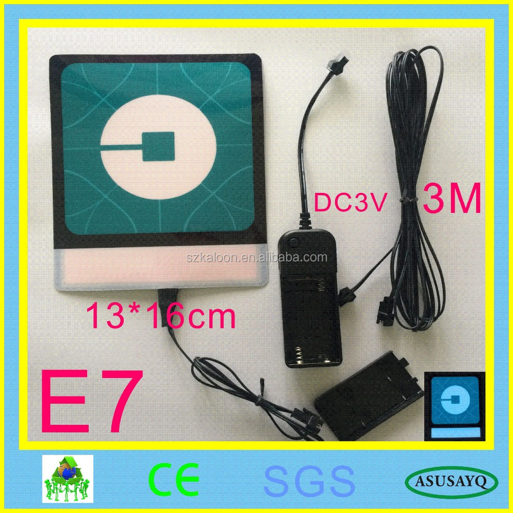 Uber, 20x20cm Uber EL Backlight, NE UBER EL Panel + 12V Wireless remote+ Free Shipping NEW UBER NEW LYFT
