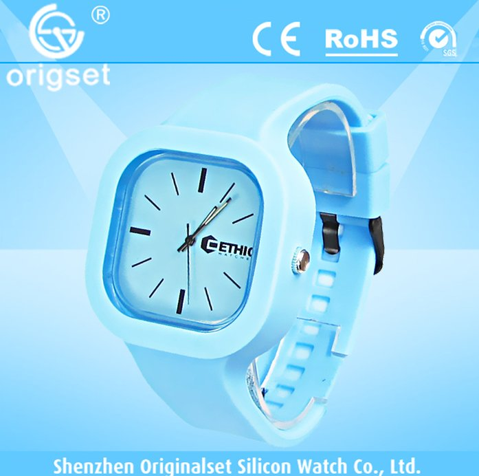 50M waterproof colorful wrist silicone jelly watch with customs logo