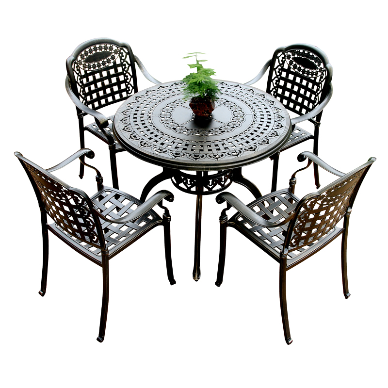 Cast aluminum patio table and chair <strong>furniture</strong>