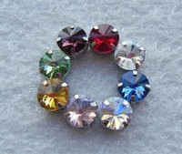 10MM 8colors mix Rivoli Crystal Fancy Stone With Claw Setting Round Sewing Crystal DIY decoration
