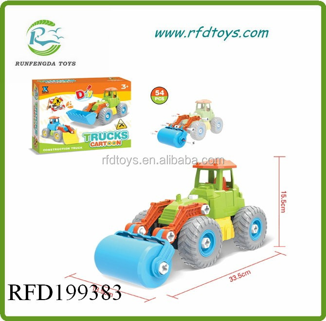 Plastic car toy for educational 54pcs diy truck for kids