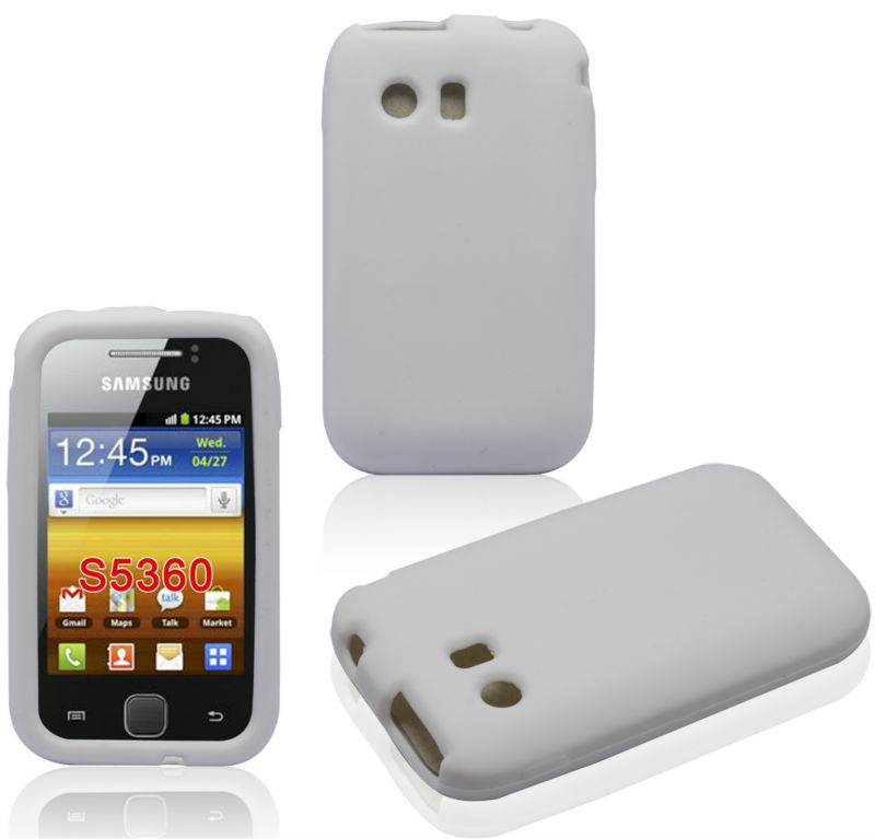 White Skin Cover Protective Accessory For Samsung Galaxy Y S5360 Silicone Cellphone Case
