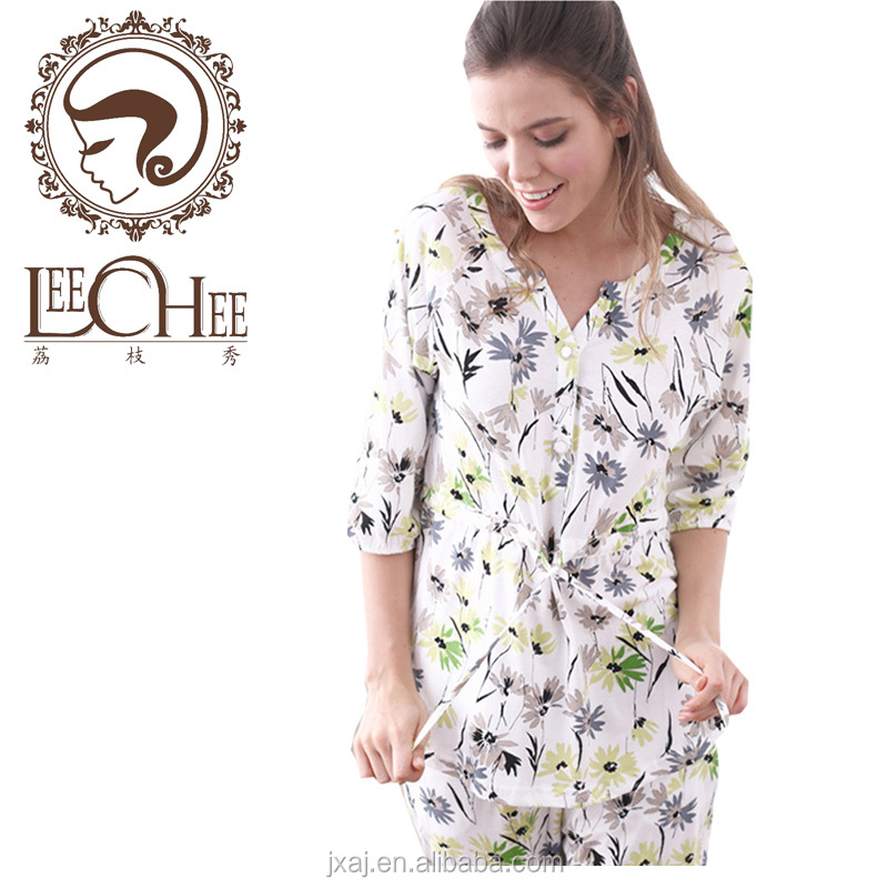 Spring And Summer New Product Women's Wear Pajamas <strong>7</strong> - Sleeve Pants Leisure Cotton Brand Home Clothing Suit Printing