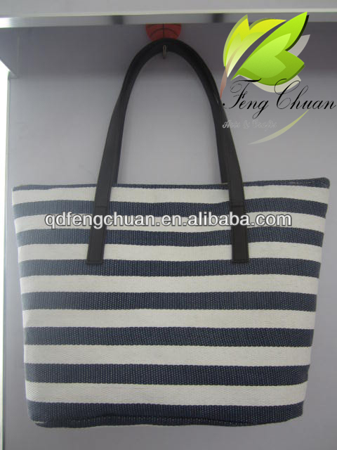 2014 newest stripes grain printing beach bags wih PU handle tote bags cheap promotion bags