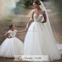 Elegant Bridal Gown Long Sleeve Applique Nude Tulle Ivory Wedding Dress The Mexico Popular 2016 Free Veils