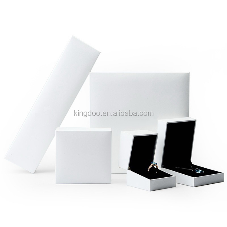 High End Luxurious Black PU Leather Jewelry Gift Box Set with White Stitching