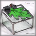 MX160031 stained glass jewelry box with maple leave on top wholesale gift set or promotional gifts