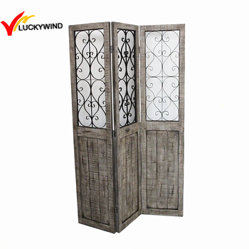 antique floral metal small decorative wooden garden partition screen