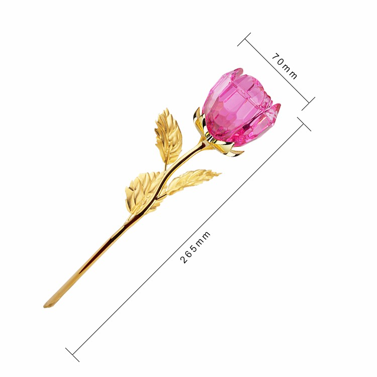 Our Wedding Favors Romantic Flower Gift 24K Gold Leaves Lovely Pink Crystal Rose
