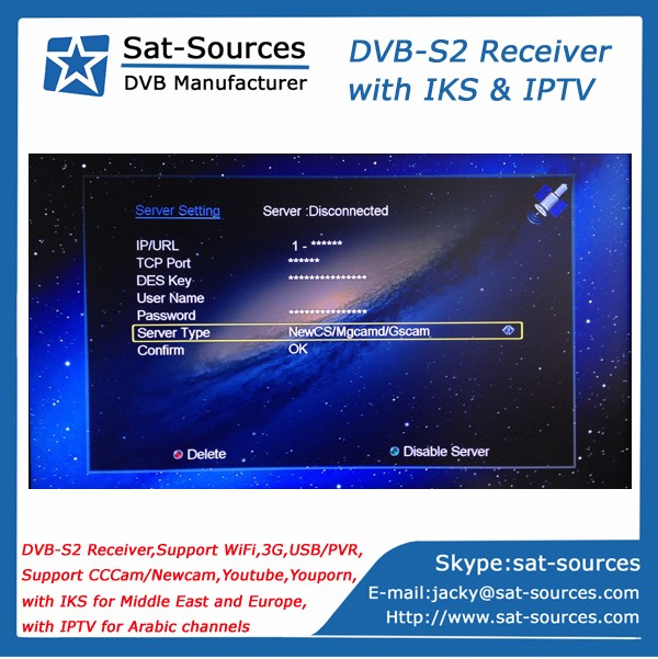 Middle East IKS IPTV DVB-S2 Receiver Globo HD405