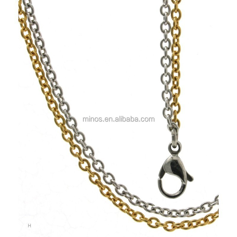 Ladies Stainless Steel Anchor Chain Necklace 2 Rows Bicolor ,Women Chain Necklace with Lobster Clasp