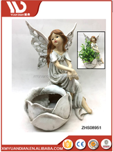 new mini popular art garden decor wholesale polyresin fairy angel butterfly wings costume figurines with planter flower pot