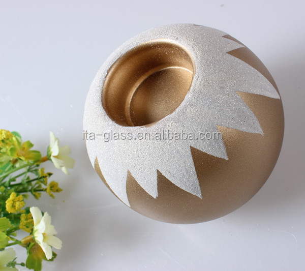 china manufacturer new product OEM logo customize unique ball design hand blown wholesale glass candleholder
