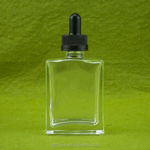 50ml clear rectangular glass bottle with plastic cap for e cigarette liquid essential oil perfume cosmetic nail polish