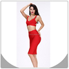 New fashion red ladies designer dress suite sexy two piece bandage dress