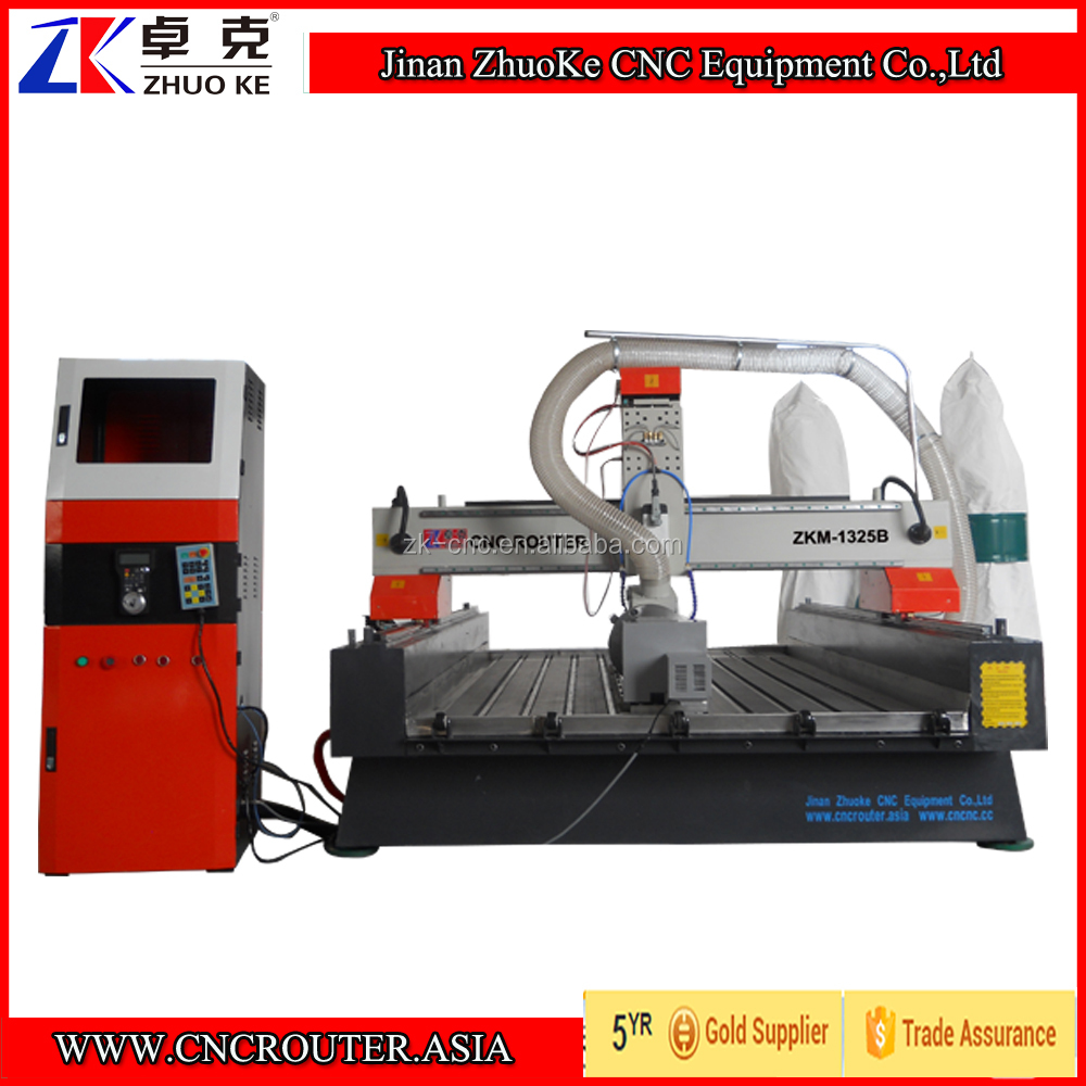 450mm Z Chinese Woodworking CNC Router Machine 1325 With 4 Axis Mach3 Control 3.5Kw Air Cooled Spindle Water Slot ZKM-1325B