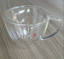 Heart Shaped Clear Double Wall Glass Cup With Handle