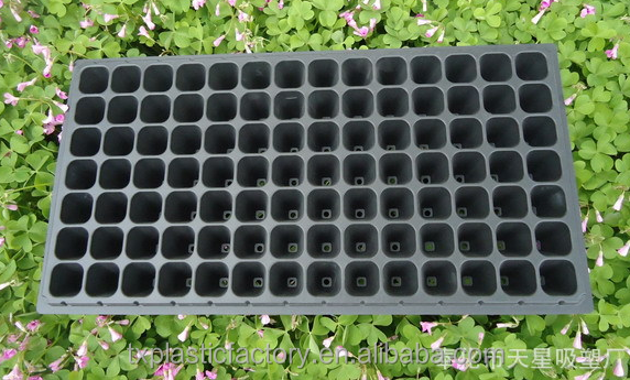 H-098 Large Plastic Plant Trays with Drain Holes 0.7mm 98 Cells Plug SeedingTray