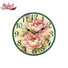 Quiet scenery flower design mute daily free sample mdf wall clock for flower shop