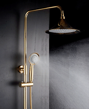 OEM manufacturer retro gold rainfall shower sets with hand held shower