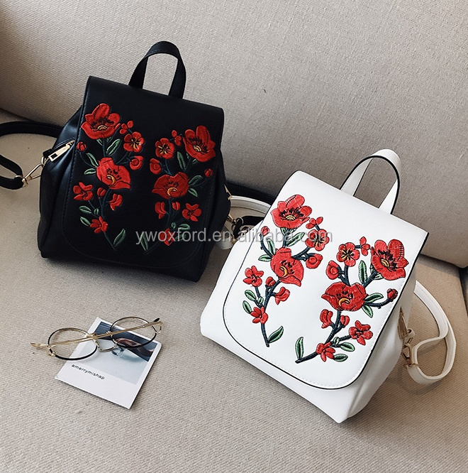 Girls School 3 Color Verions Floral Embroidery PU Fashion Backpacks