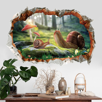 New arrival removable Snail pvc waterproof custom beautiful self adhesive home decor 3d window scenery wall sticker
