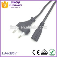 Euro 2 pin Power Cord to IEC 60320 C7 connector (2.5A/250V) power plug electrical pug