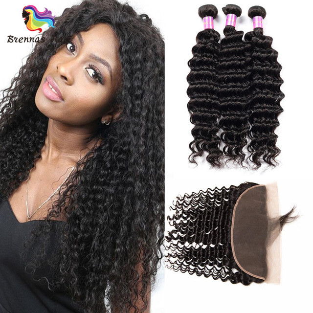 2018 Deep Wave Remy Hair Virgin Human Hair With 13*4 Lace Frontal Closures Natural Black