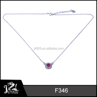 925 sterling silver jewelry fashion ruby beads necklace chain necklace