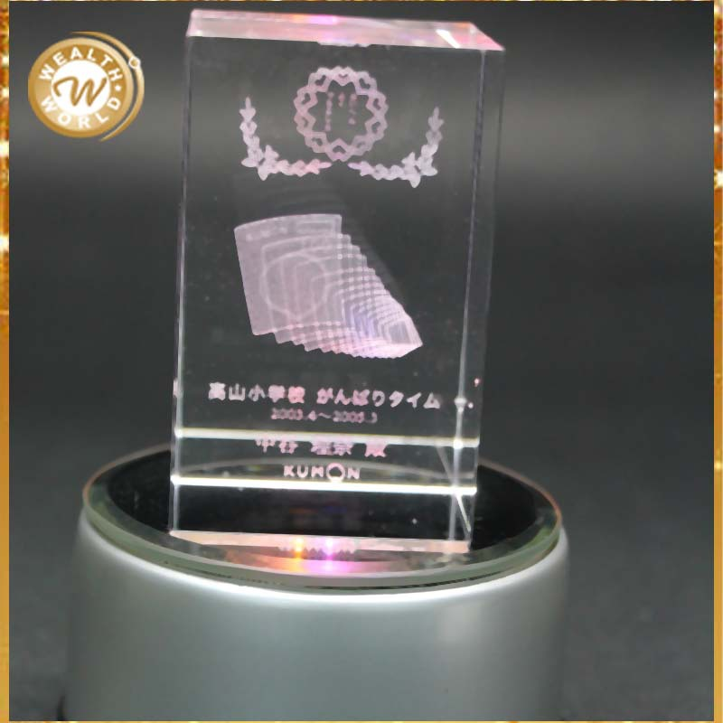 3D engraving crystal school anniversary gifts