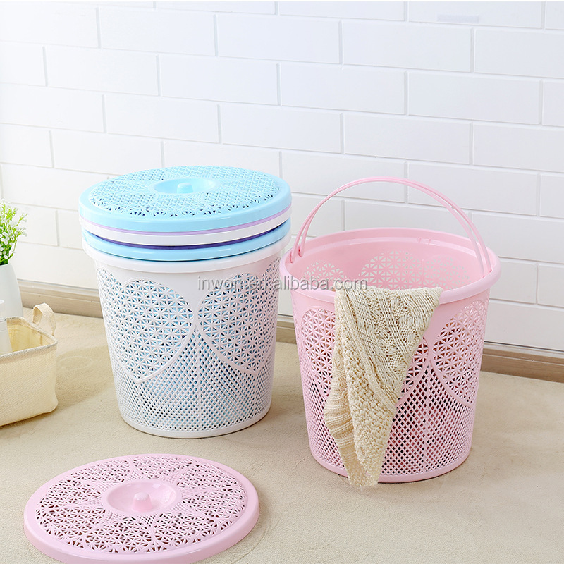 40L Plastic wicker wholesale round handle laundry basket with lid large size