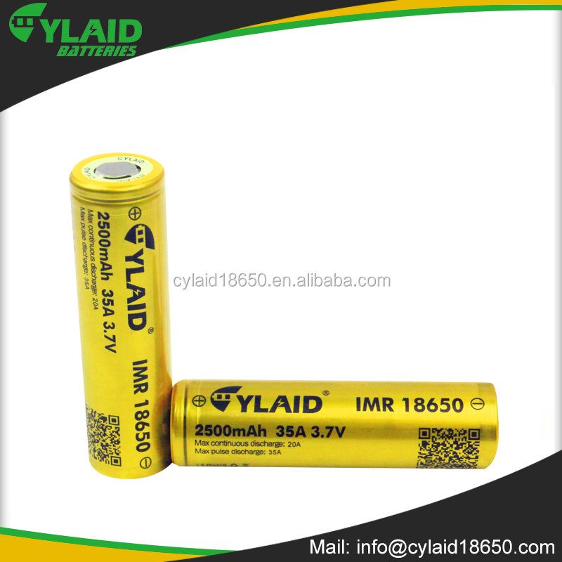 cheapest 18650 3.7V 2500Mah lithium polymer recharge battery deep cycle cylaid 35a