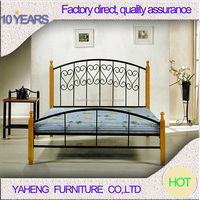 New style Indian wood leg double bed designs