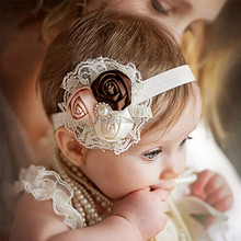 Baby Hair Bows Girls Headwear wholesale new fashion Hair Bands Lace mix 3 Rose headbands Children Flower Hair Accessories