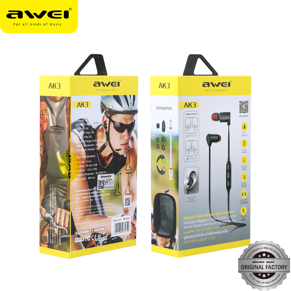 Awei brand name earphones blluetooth wireless headphones 2017
