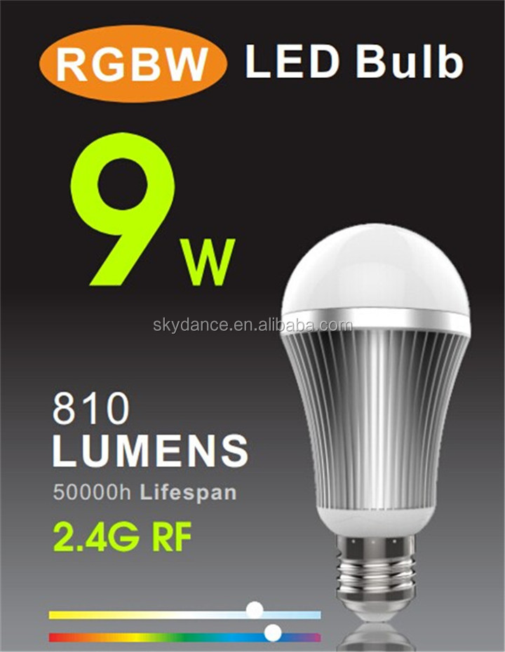 2016 manufacturing 9W RGBW led bulb lamp