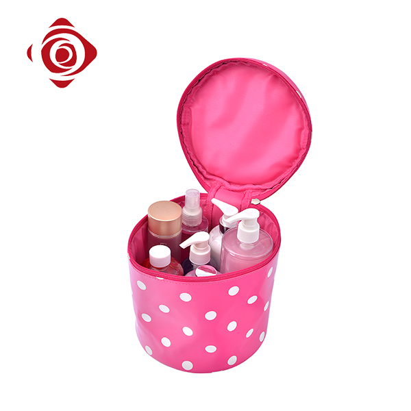 Hot selling portable round makeup bag personalized cosmetic carry case