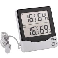 In & Out Two Channels Thermo-Hygrometer Digital LCD Electronic Temperature Humidity Meter Weather Station Thermometer Hygrometer
