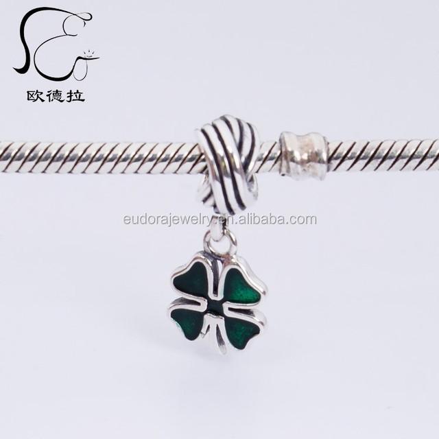 Wholesales Enamel Sterling silver Four leaf Clover bracelet Charm