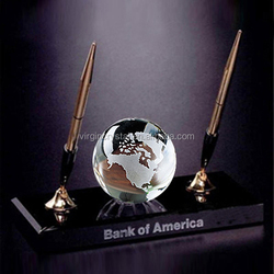 Top Quality K9 Optical Crystal Globe Ball With Point Pen Holder For Crystal Office Set