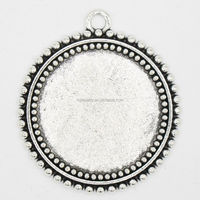 RS-1016Y fit 25mm round sterling silver cabochon pendant setting