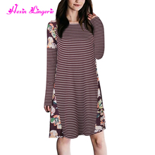 2017 Women Vintage Stripe Winter Cheap China Formal Clothing I Ladies Dresses