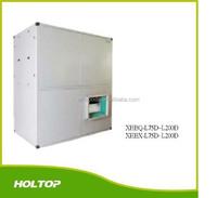 Basement garage ventilation system with positve pressure indoor