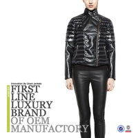 2016 Women Black Leather Down Jacket Made In China