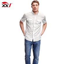 mens clothing new model shirts double pocket linen blend slim fit plain casual shirt for men