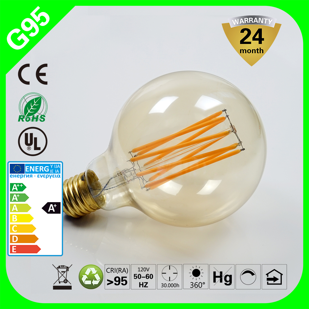 Soalr Light G80 G95 G125 8W 100-240V Retro LED Globe Filament Bulb Lighting