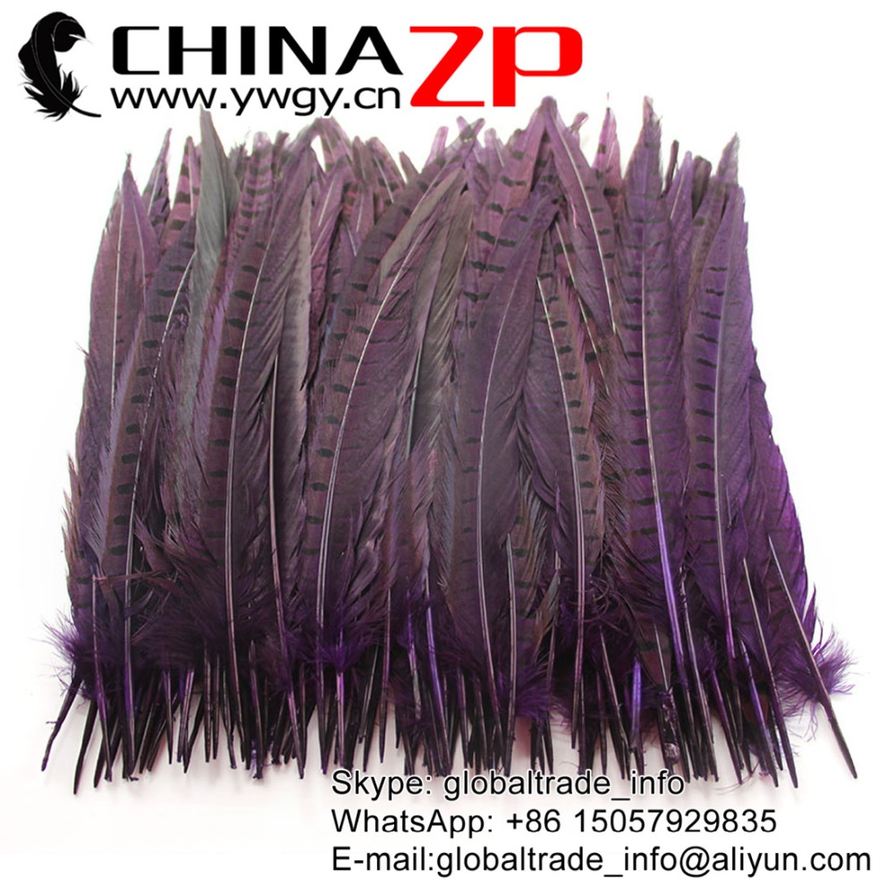 CHINAZP Factory Wholesale Choosed Quality 25-30cm Dyed Purple Ringneck Pheasant Tail Feather for Selling