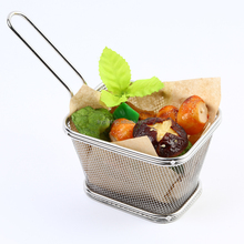 Best Utensils Metal Chips Fry Baskets Stainless Steel Mini French Fry Basket Strainer Serving Food Presentation Cooking Tool