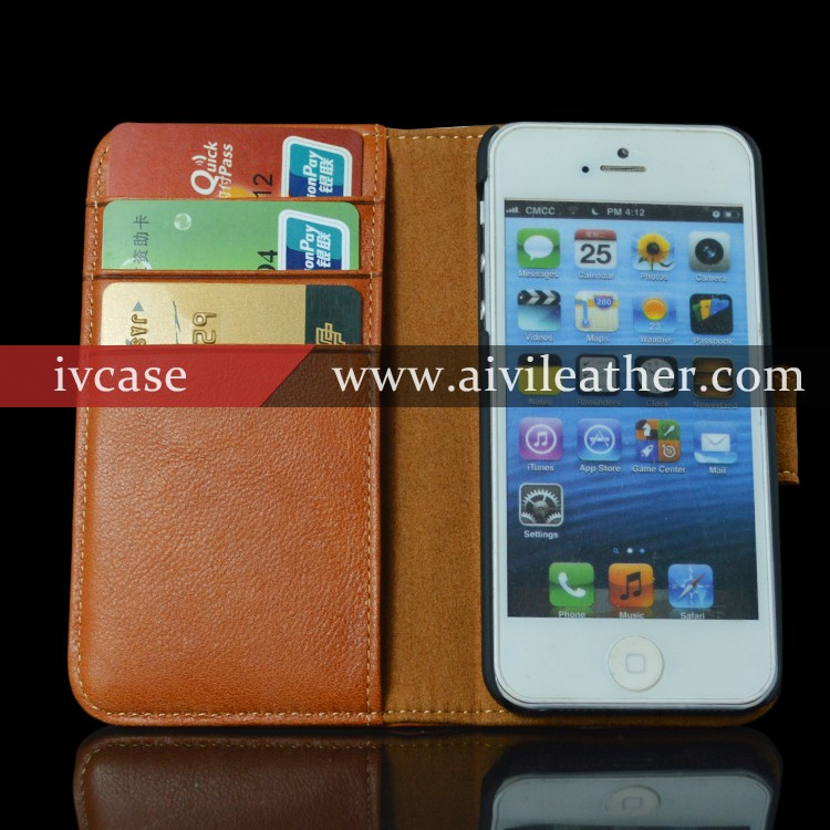 Top Grain Leather Wallet Case for Iphone 5 with Card Slots