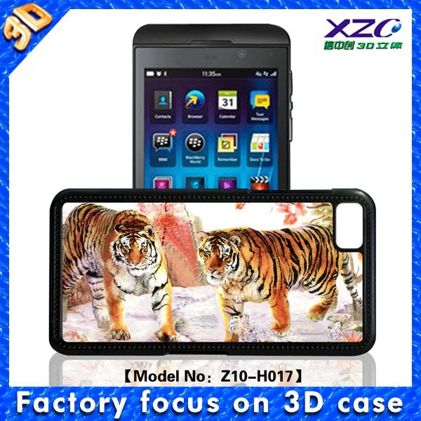 best deals on mobile phone silicon wallet case Two tigers 3D Design mobile case for BlackBerry Z10